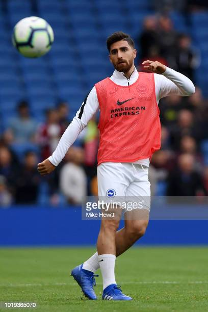 Alireza Jahanbakhsh of Brighton and Hove Albion warms up prior to the Premier League match between Brighton Hove Albion and Manchester United at...