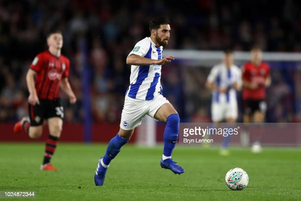 Alireza Jahanbakhsh of Brighton Hove Albion in action during the Carabao Cup Second Round match between Brighton Hove Albion and Southampton at...