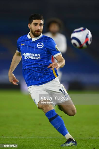 Alireza Jahanbakhsh of Brighton & Hove Albion in action during the Premier League match between Brighton & Hove Albion and Crystal Palace at American...
