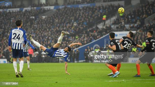 Alireza Jahanbakhsh of Brighton Hove Albion scores with a spectacular overhead kick during the Premier League match between Brighton Hove Albion and...
