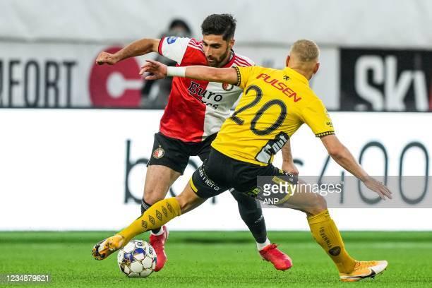 Alireza Jahanbakhsh of Feyenoord, Simon Strand of Elfsborg during the UEFA Conference League play-offs match between IF Elfsborg and Feyenoord at...