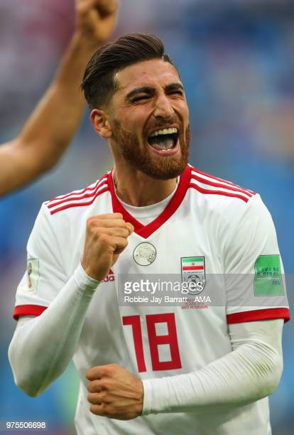 Alireza Jahanbakhsh of IR Iran celebrates at full time during the 2018 FIFA World Cup Russia group B match between Morocco and Iran at Saint...