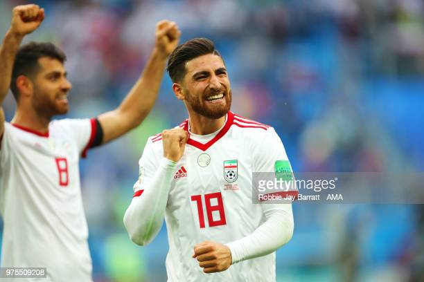 Alireza Jahanbakhsh of IR Iran celebrates at the end of the 2018 FIFA World Cup Russia group B match between Morocco and Iran at Saint Petersburg...