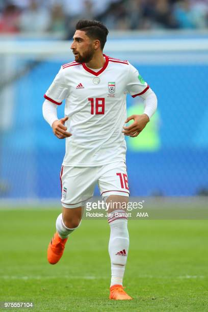 Alireza Jahanbakhsh of IR Iran in action during the 2018 FIFA World Cup Russia group B match between Morocco and Iran at Saint Petersburg Stadium on...