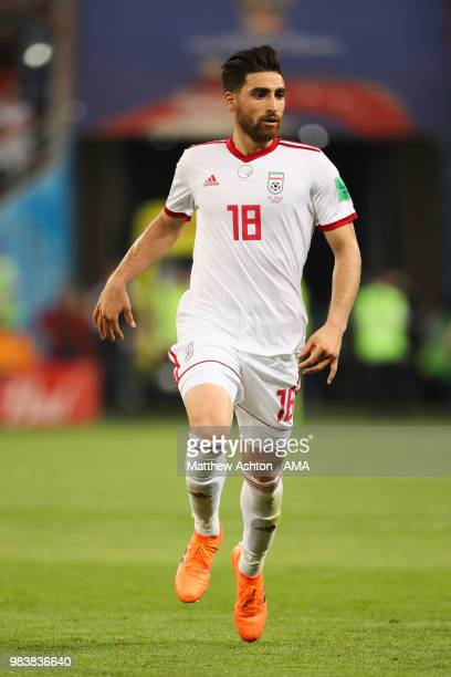 Alireza Jahanbakhsh of IR Iran in action during the 2018 FIFA World Cup Russia group B match between Iran and Portugal at Mordovia Arena on June 25...