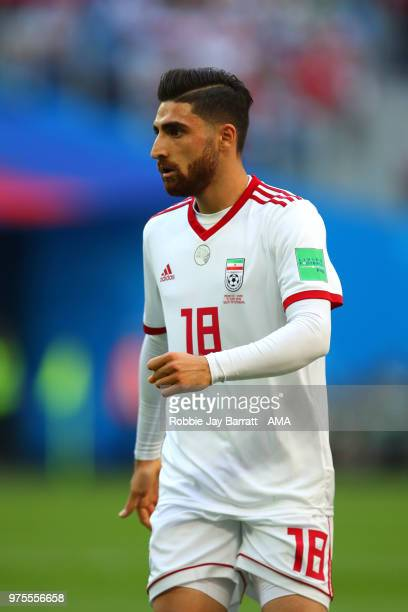 Alireza Jahanbakhsh of IR Iran looks on during the 2018 FIFA World Cup Russia group B match between Morocco and Iran at Saint Petersburg Stadium on...