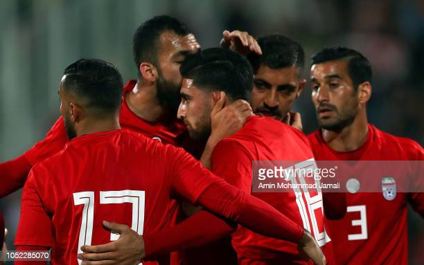 Alireza Jahanbakhsh of Iran celebrates after first goal during the international friendly match between Iran and Bolivia at Azadi Stadium on October...