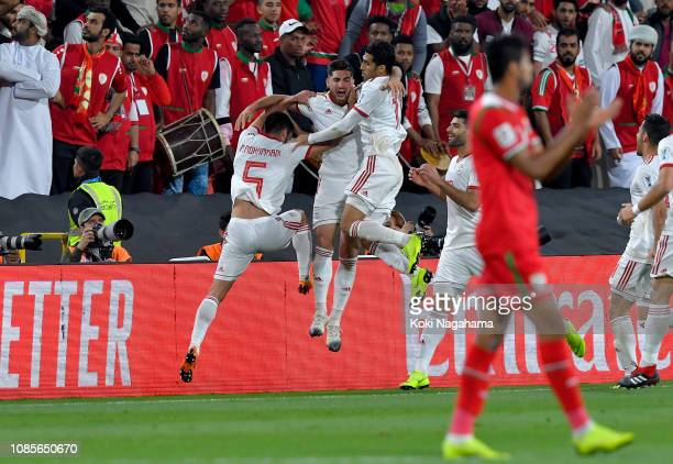 Alireza Jahanbakhsh of Iran celebrates after he scores his sides first goal during the AFC Asian Cup round of 16 match between Iran and Oman at...