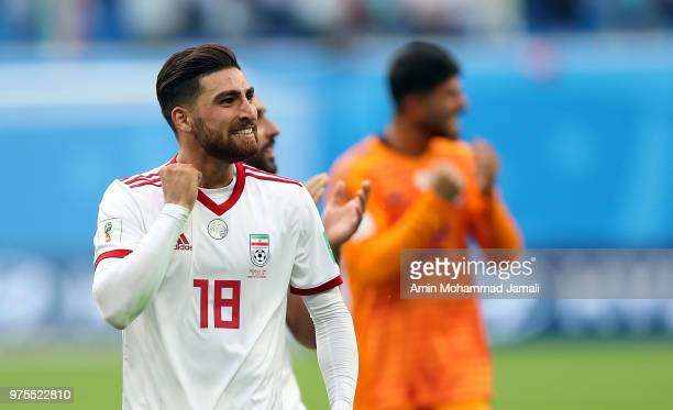 Alireza Jahanbakhsh of Iran celebrates after tha match during the 2018 FIFA World Cup Russia group B match between Morocco and Iran at Saint...