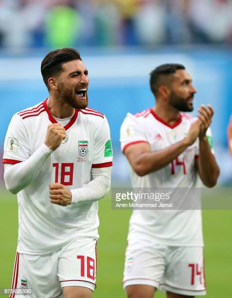 Alireza Jahanbakhsh of Iran celebrates after the match during the 2018 FIFA World Cup Russia group B match between Morocco and Iran at Saint...