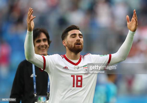 Alireza Jahanbakhsh of Iran celebrates during the 2018 FIFA World Cup Russia group B match between Morocco and Iran at Saint Petersburg Stadium on...