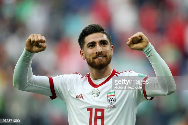 Alireza Jahanbakhsh of Iran celebrates his side's win following the 2018 FIFA World Cup Russia group B match between Morocco and Iran at Saint...