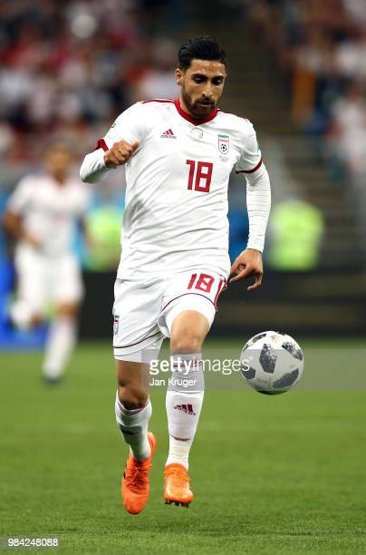 Alireza Jahanbakhsh of Iran controls the ball during the 2018 FIFA World Cup Russia group B match between Iran and Portugal at Mordovia Arena on June...