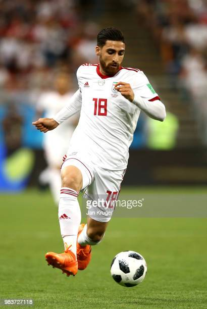 Alireza Jahanbakhsh of Iran in action during the 2018 FIFA World Cup Russia group B match between Iran and Portugal at Mordovia Arena on June 25 2018...