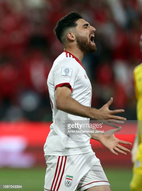 Alireza Jahanbakhsh of Iran in action during the AFC Asian Cup round of 16 match between Iran and Oman at Mohammed Bin Zayed Stadium on January 20...