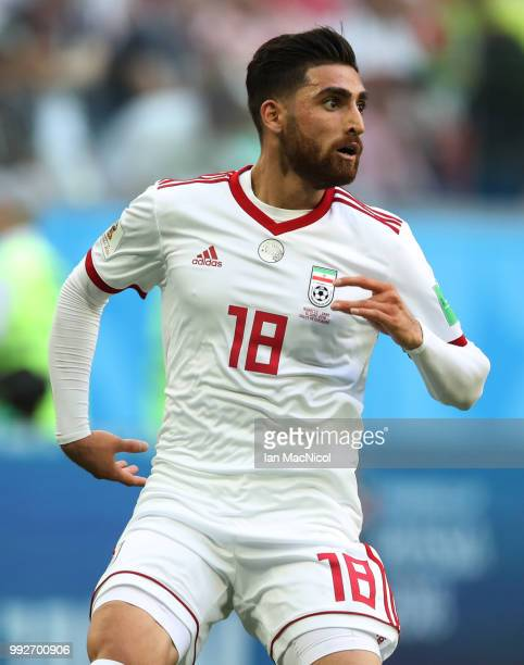 Alireza Jahanbakhsh of Iran is seen during the 2018 FIFA World Cup Russia group B match between Morocco and Iran at Saint Petersburg Stadium on June...
