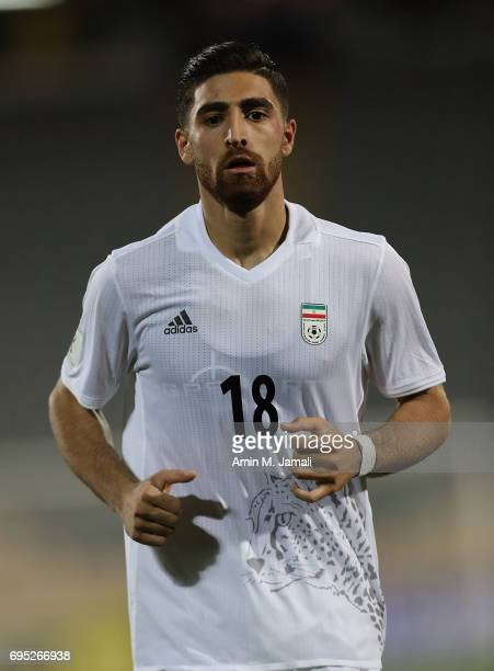 Alireza Jahanbakhsh of Iran looks on during FIFA 2018 World Cup Qualifier match between Iran and Uzbekistan at Azadi Stadium on June 12 2017 in...
