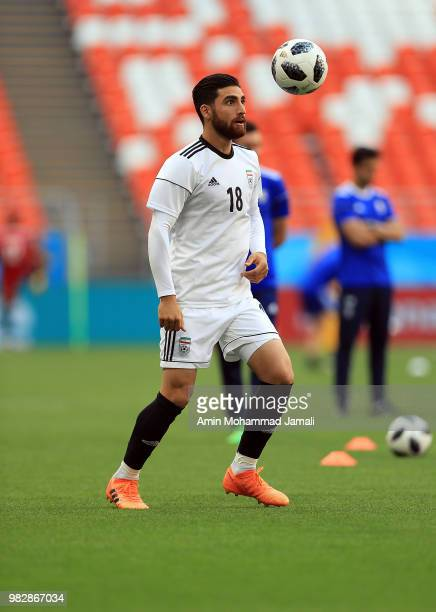 Alireza Jahanbakhsh of Iran of Iran in action during a training session before match between Iran Portugal on June 24 2018 in Saransk Russia