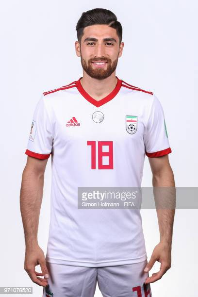 Alireza Jahanbakhsh of Iran poses during the official FIFA World Cup 2018 portrait session at Bakovka Training Base on June 9 2018 in Moscow Russia