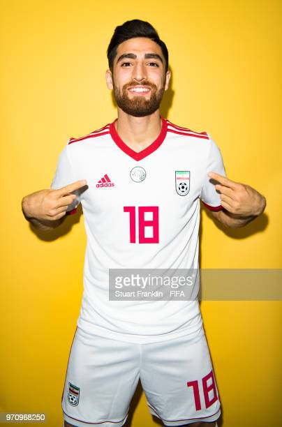 Alireza Jahanbakhsh of Iran poses for a picture during the official FIFA World Cup 2018 portrait session at on June 9 2018 in Moscow Russia