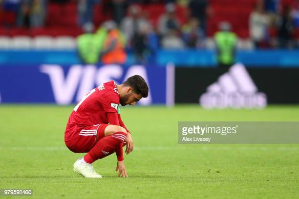 Alireza Jahanbakhsh of Iran shows his dejection following the 2018 FIFA World Cup Russia group B match between Iran and Spain at Kazan Arena on June...