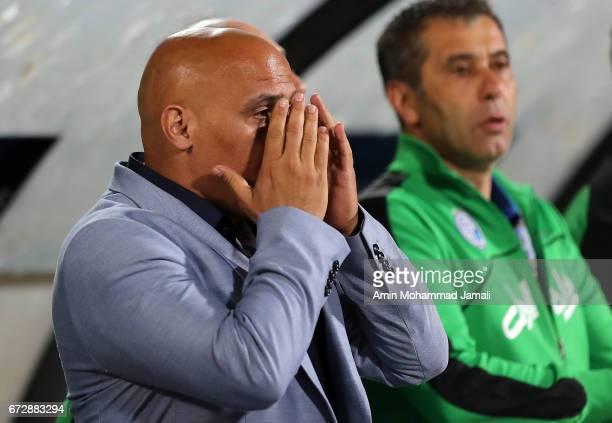 Alireza Mansourian head coach of Esteghlal looks on during AFC Champions League match between Esteghlal vs Al Ahli FC at Azadi Stadium on April 25...