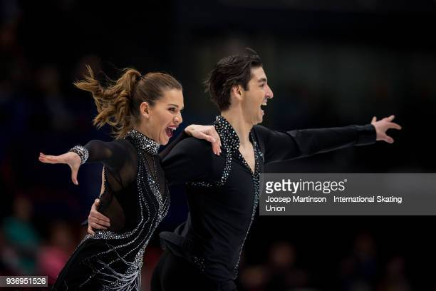 Alisa Agafonova and Alper Ucar of Turkey compete in the Ice Dance Free Dance during day two of the World Figure Skating Championships at Mediolanum...