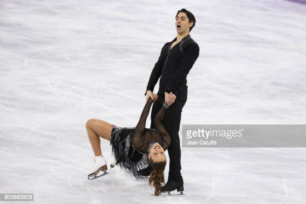 Alisa Agafonova and Alper Ucar of Turkey during the Figure Skating Ice Dance Short Dance program on day ten of the PyeongChang 2018 Winter Olympic...