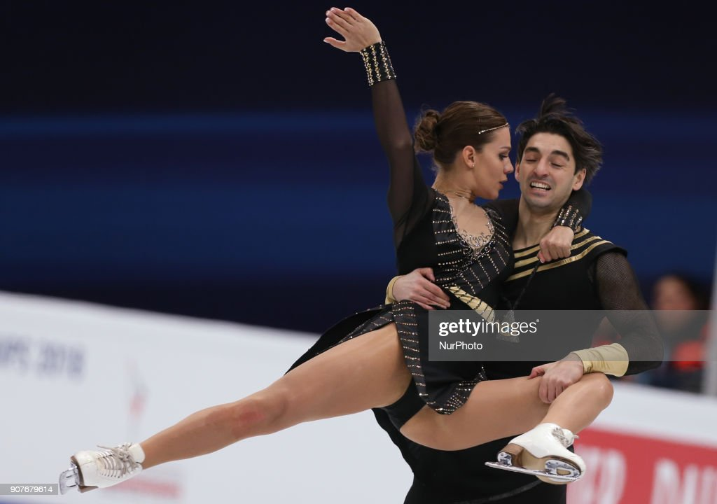 Alisa Agafonova and Alper Ucar of Turkey perform during an ice dance free dance event at the 2018 ISU European Figure Skating Championships, at Megasport Arena in Moscow, on January 20, 2018.
