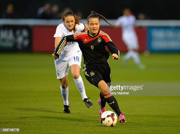 Alisa Backer of Germany during the International Friendly match between U16 Girl's England v U16 Girl's Germany on November 10 2014 in Burton upon...