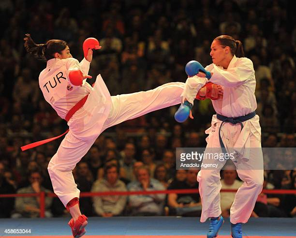 Alisa Buchinger of Austria fights against her opponent Merve Coban of Turkey during the women's third place 68kg Kumite competition of the 22nd...