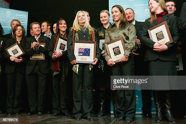 Alisa Camplin Australian ski team member on stage with the Australian Winter Olympic team at the team's welcome reception party prior to the Turin...