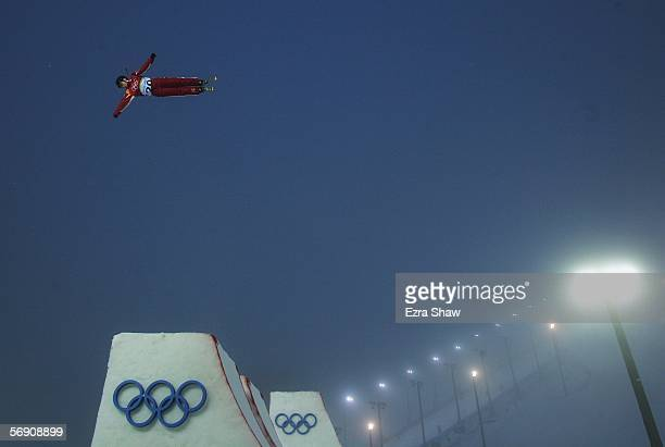 Alisa Camplin of Australia practices prior to the Womens Freestyle Skiing Aerials Final on Day 12 of the 2006 Turin Winter Olympic Games on February...
