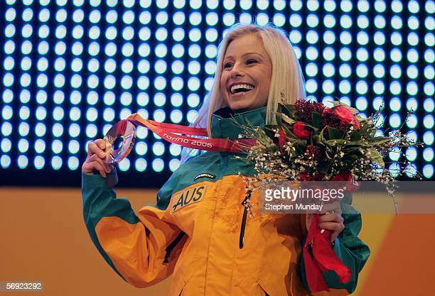 Alisa Camplin of Australia receives the Bronze Medal in the Womens Freestyle Skiing Aerials at the Medals Plaza on Day 13 of the 2006 Turin Winter...
