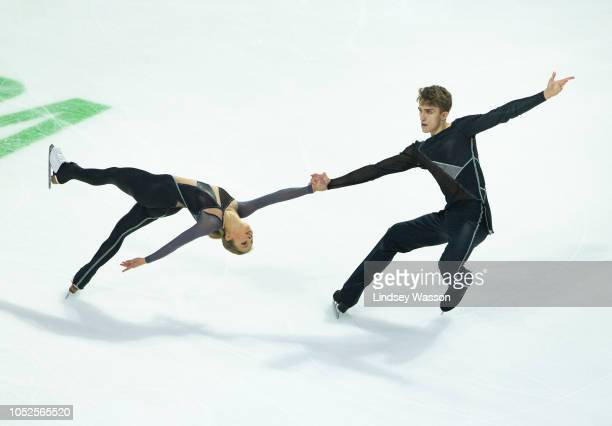 Alisa Efimova and Alexander Korovin of Russia perform in the Pairs Short Program during the ISU Grand Prix of Figure Skating Skate America at Angel...