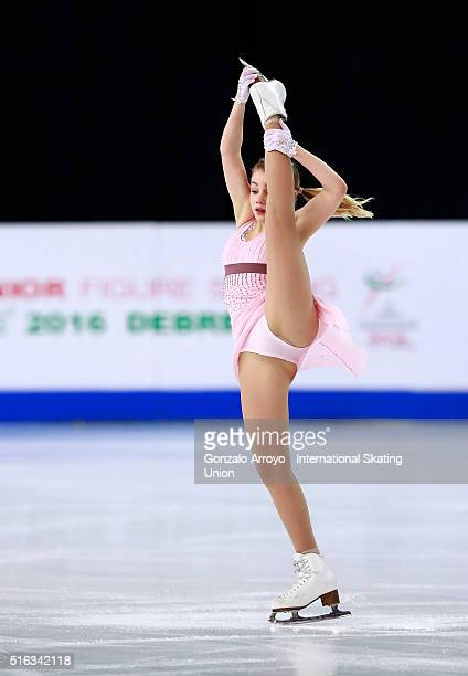Alisa Fedichkina from Russia skates during the Ladie's short program of the ISU World Junior Figure Skating Championships 2016 at The Fonix Arenaon...