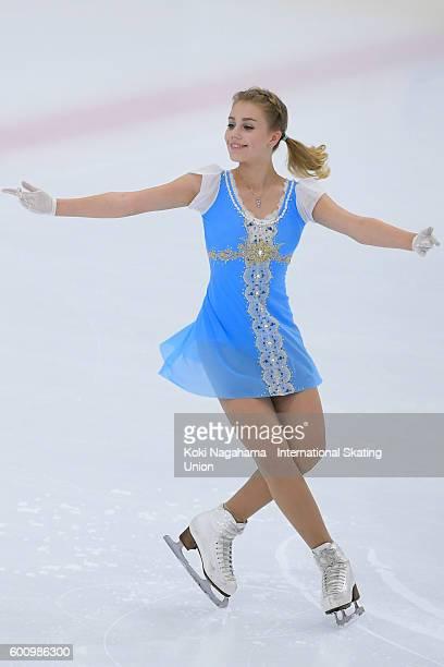 Alisa Fedichkina of Russia competes in the women's short program during the ISU Junior Grand Prix of Figure Skating Yokohama on September 9 2016 in...