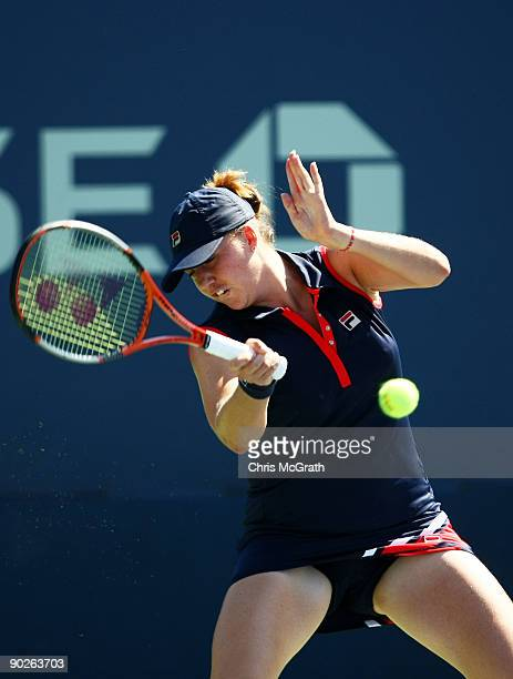 Alisa Kleybanova of Russia returns a shot against Petra Kvitova of the Czech Republic during day two of the 2009 US Open at the USTA Billie Jean King...