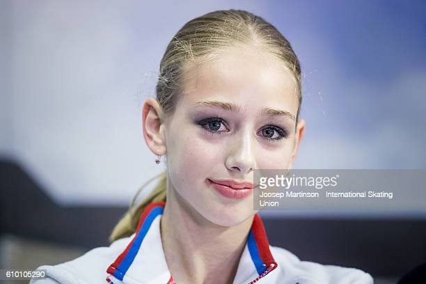 Alisa Lozko of Russia poses for a photo at kiss and cry during the Junior Ladies Free Skating on day three of the ISU Junior Grand Prix of Figure...