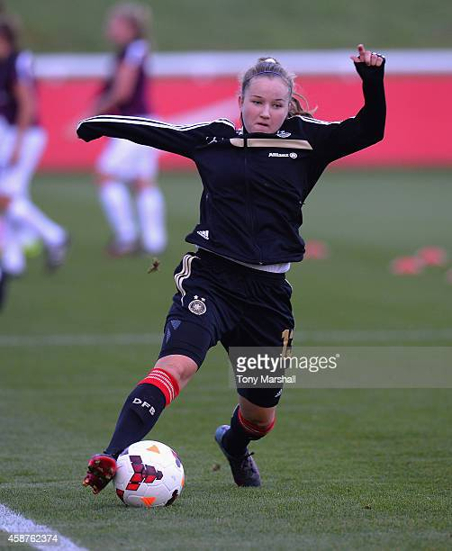 Alisa Pesteritz of Germany during the warm up before the International Friendly match between U16 Girl's England v U16 Girl's Germany on November 10...