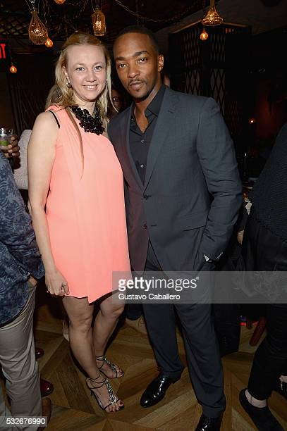 Alisa Roever and Anthony Mackie attends the Haute Living Jet Smarter Honor Cover Star Anthony Mackie on May 18 2016 in New York City