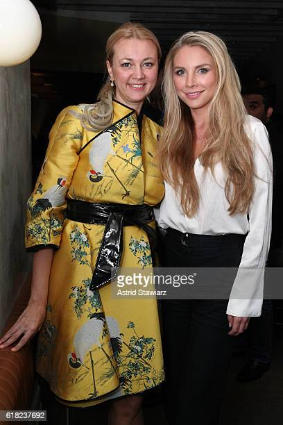 Alisa Roever and Karina Lask attend the Haute Living Celebrates The H1 Colorblock Collection Official Launch At Mamo NYC on October 25 2016 in New...