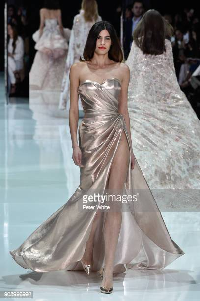 Alisar Ailabouni walks the runway during the Ralph Russo Spring Summer 2018 show as part of Paris Fashion Week on January 22 2018 in Paris France