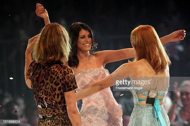 Alisar celebrates after winning the PRO7 TV show 'Germany's Next Topmodel Final' at the Lanxess Arena on June 10 2010 in Cologne Germany