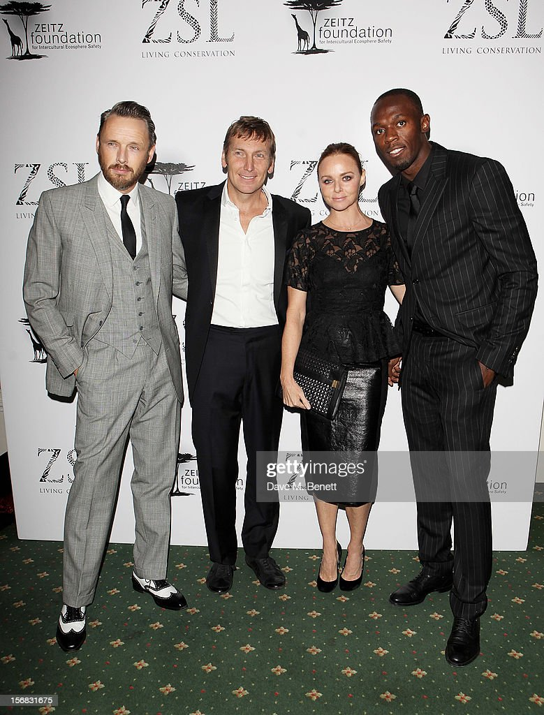 Alisdhair Willis, Zeitz Foundation founder Jochen Zeitz, Stella McCartney and Usain Bolt arrive at the Zeitz Foundation and ZSL Gala at London Zoo on November 22, 2012 in London, England.