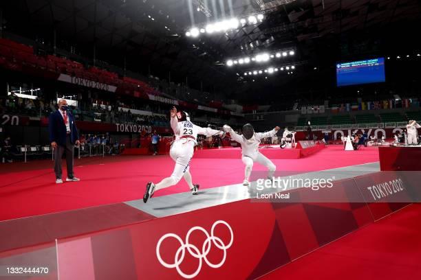 Alise Fakhrutdinova of Team Uzbekistan and Sehee Kim of Team South Korea compete during the Fencing Ranked Round of the Women's Modern Pentathlon on...