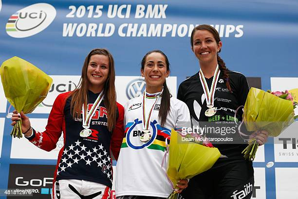 Alise Post of USA Mariana Pajon of Colombia and Sarah Walker of New Zealand pose on the podium after the Elite Womens Time Trial Race during day 4 of...