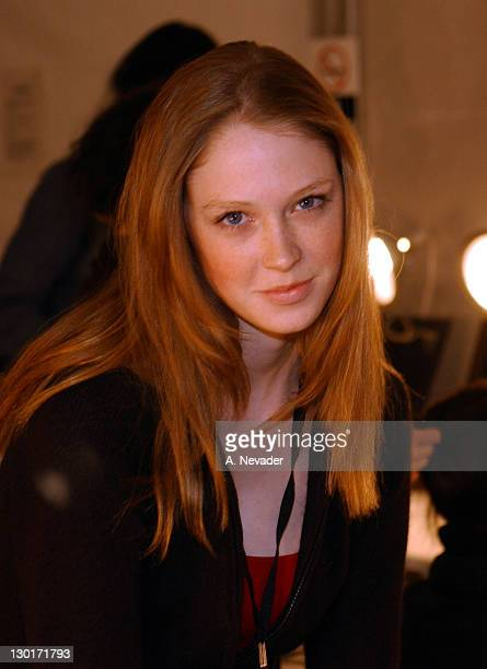 Alise Shoemaker during makeup during MercedesBenz Fall Fashion Week 2003 Collections Anand Jon Backstage at Bryant Park in New York New York United...