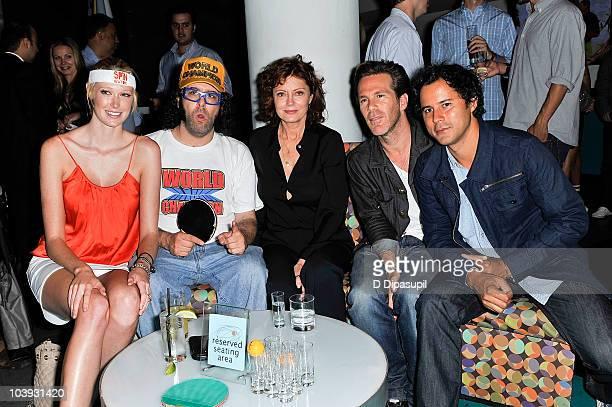 Alise Shoemaker Judah Friedlander Susan Sarandon Scott Lipps and Franck Raharinosy attend Ping Pong With The Models To Benefit Haiti at SPiN New York...