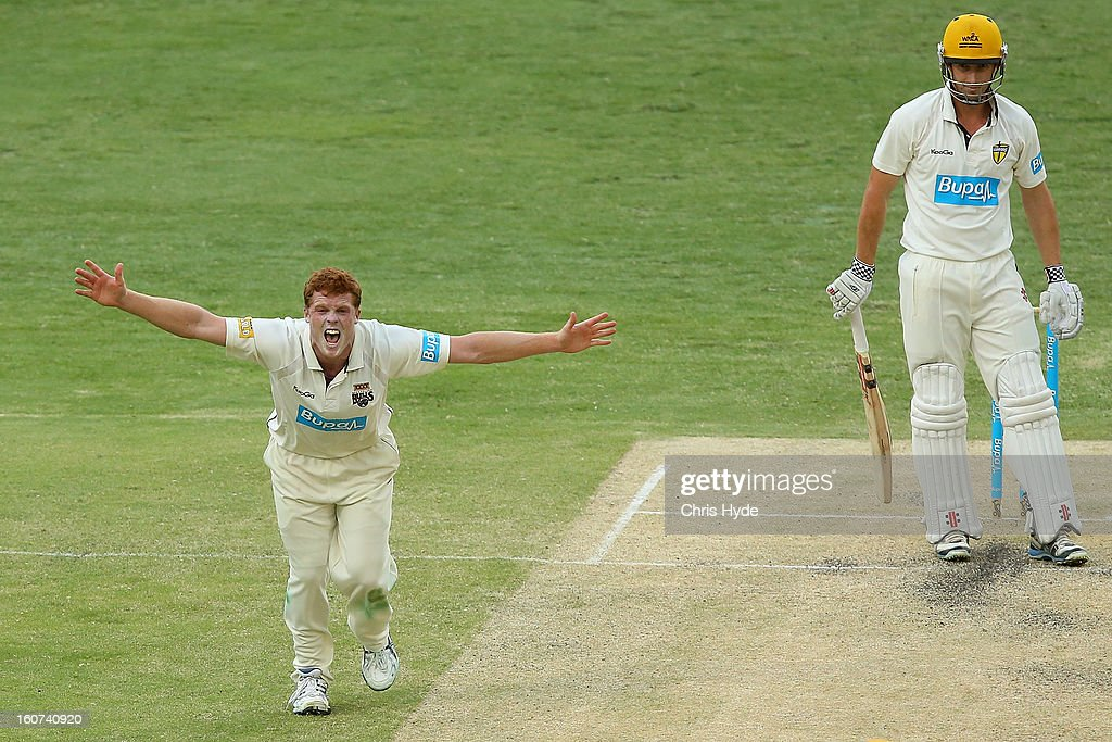 Aliser McDermott of the Bulls successfully apeals for the wicket of Shaun Marsh of the Warriors during day two of the Sheffield Shield match between the Queensland Bulls and the Western Australia Warriors at The Gabba on February 5, 2013 in Brisbane, Australia.